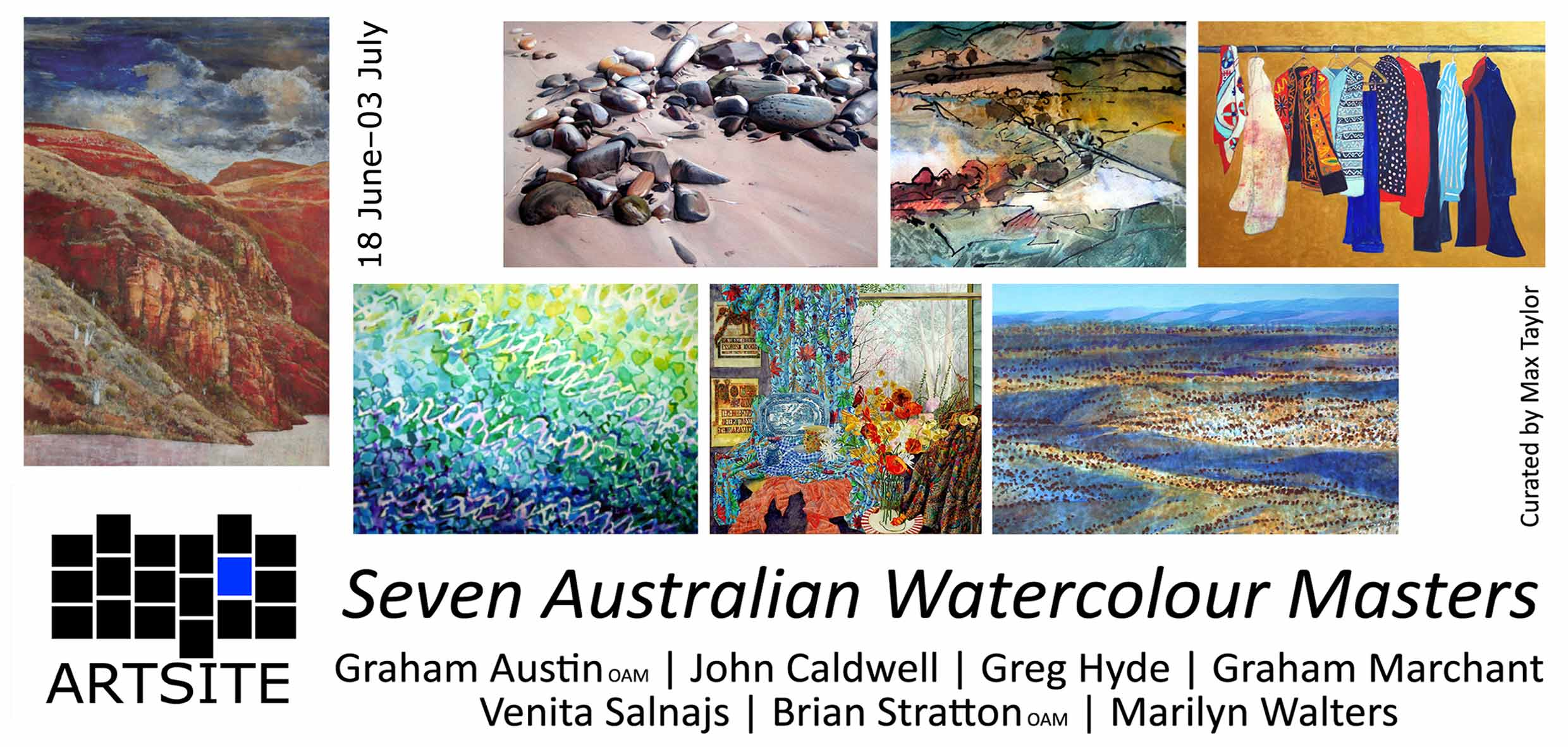 View Exhibition at Artsite Gallery, Sydney. 18 June - 03 July 2011: Seven Australian Watercolour Masters:Graham Austin, John Caldwell, Greg Hyde, Graham Marchant, Venita Salnajs, Brian Stratton, Marilyn Walters.