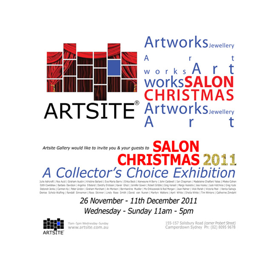 Collectors Choice 2011 is Artsite Gallery's Annual Salon Exhibition featuring a superb exhibition of high quality works from local & internationally recognised Australian Contemporary Visual Artists, Artist Jewellers & invited guest Artists.