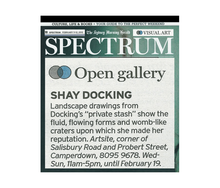 Open Gallery, Spectrum Now, Sydney Morning Herald, February 11-12 2012 page 10