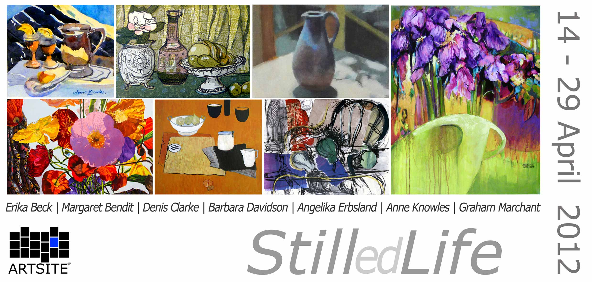 View Exhibition at Artsite Gallery. 14 - 29 April 2012: Stilled Life - An exhibition of Still life Paintings and Works on Paper.