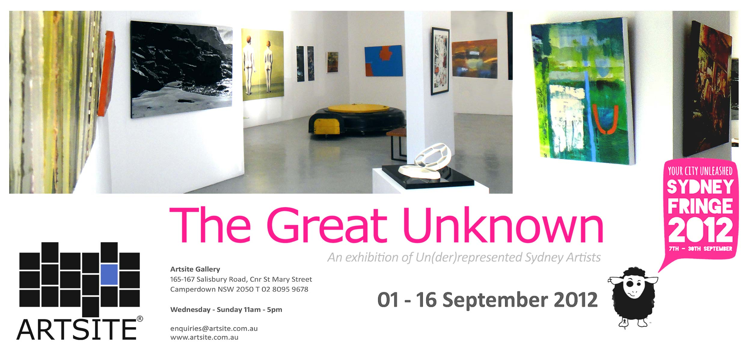 View Exhibition at Artsite Gallery. 01 - 16 September 2012: GU12 - The Great Unknown 2012 - A Curated Exhibition of Un(der)Represented Sydney Artists - Official Selection of the Sydney Fringe Festival 2012