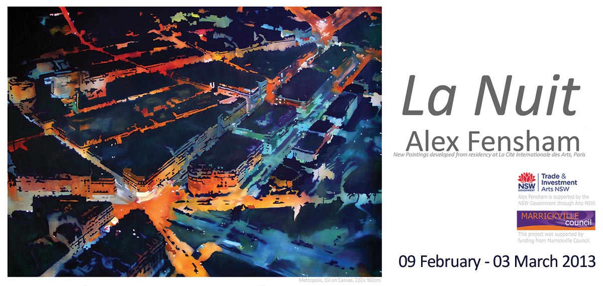 View Exhibition at Artsite Gallery. 09 February - 03 March 2013: Alex Fensham - La Nuit.