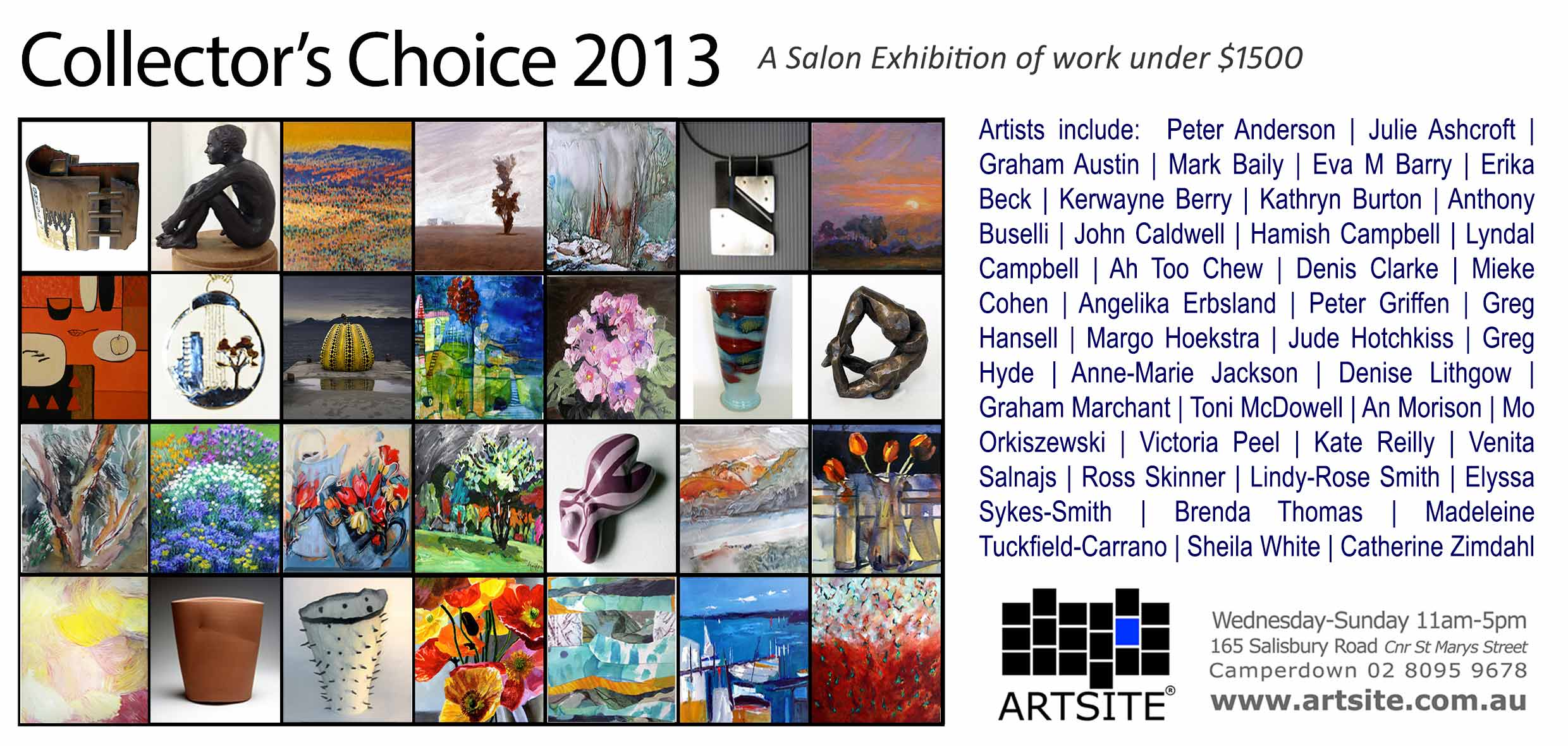 View Exhibition at Artsite Gallery, Sydney: 30 November - 15 December 2013. Collectors Choice 2013