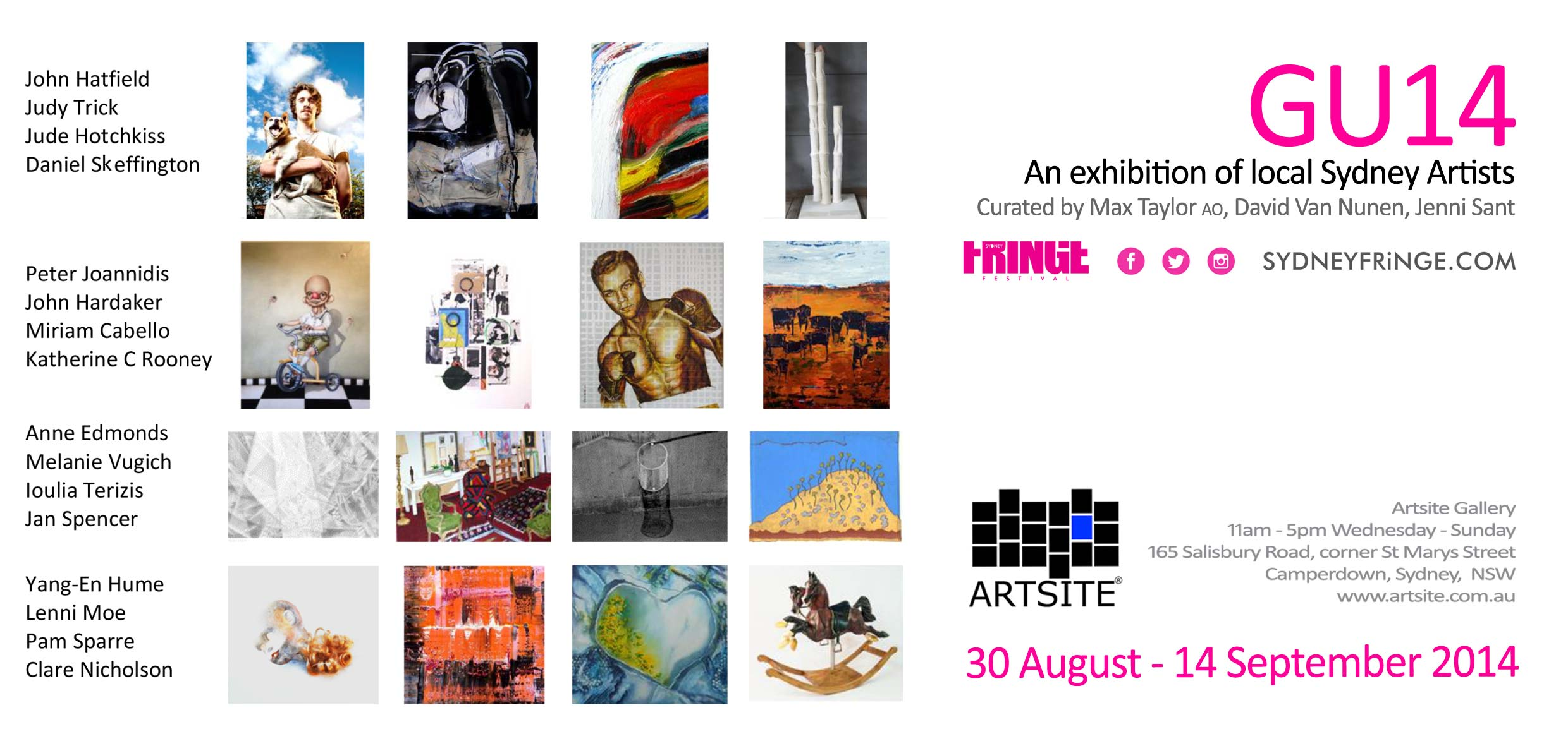 View Exhibition at Artsite Gallery, Sydney. 30 August - 14 September 2014: GU14 - New Artists Exhibition - The Sydney Fringe Festival 2014