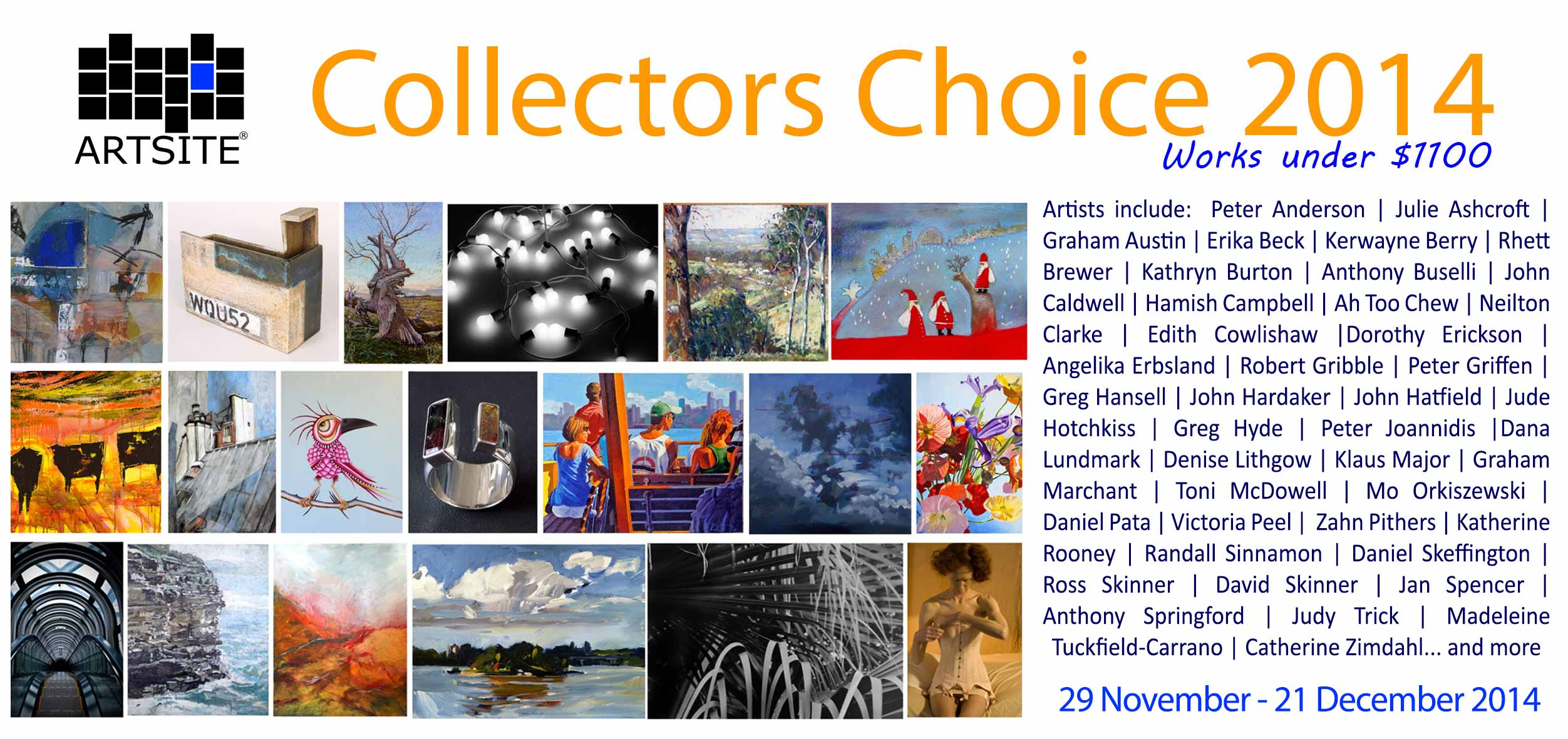 View Exhibition at Artsite Gallery, Sydney: 29 November - 21 December 2014. Collectors Choice 2014
