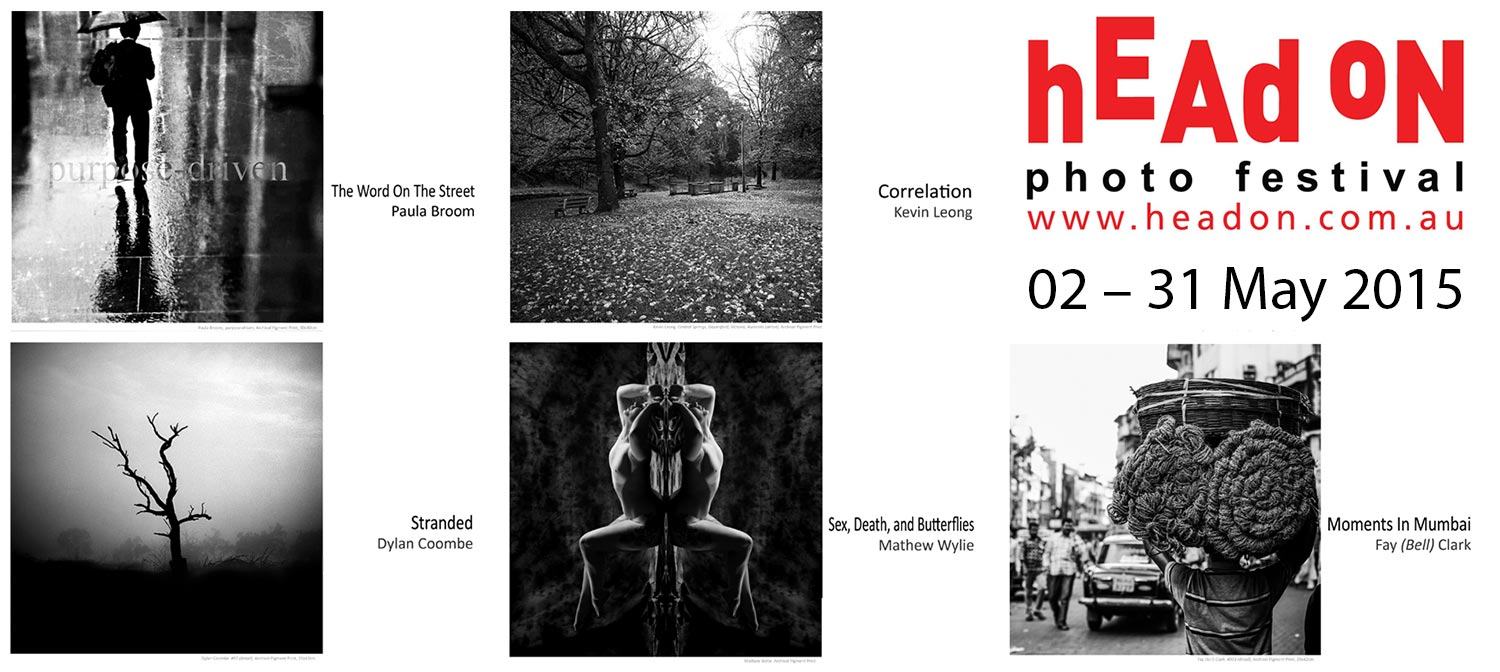 Artsite Gallery presents the work of five Head On Associate Photographers, Paula Broom, Fay (Bell) Clark, Dylan Coombe, Kevin Leong, and Mathew Wylie, whose individual bodies of work were selected for exhibition by the 2015 Photo Festival Selection Committee: Amanda James, Anthony Browell, Bronwyn Rennex, James Cottam, John Donegan, Louisa Kirby and Tim Hixson.