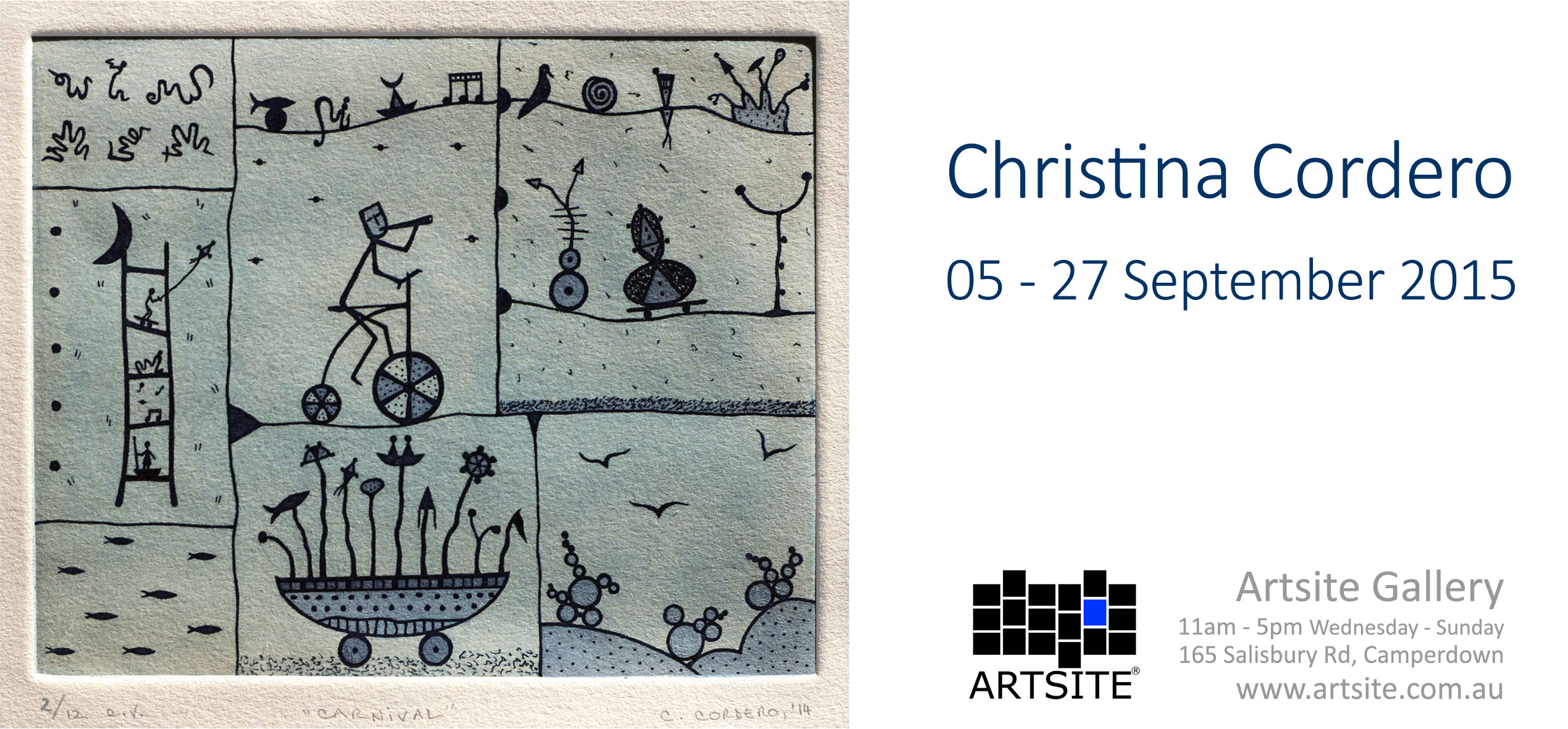 View Exhibition at Artsite Gallery. 05- 27 September 2015: Christina Cordero Etchings