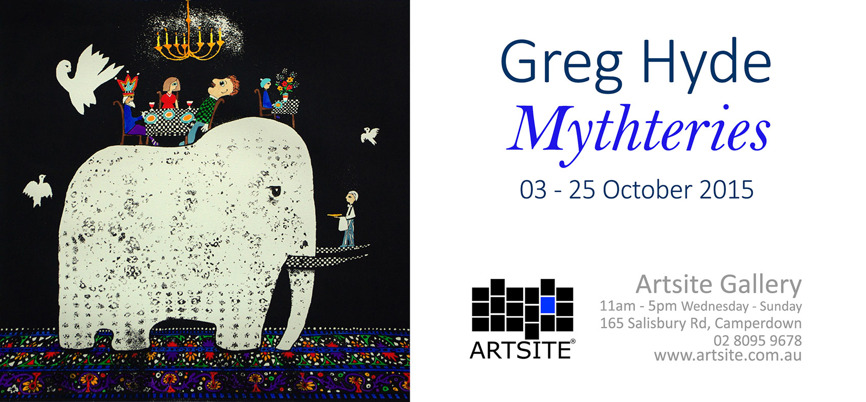 Greg Hyde - Solo Exhibition at Artsite Gallery October 2015