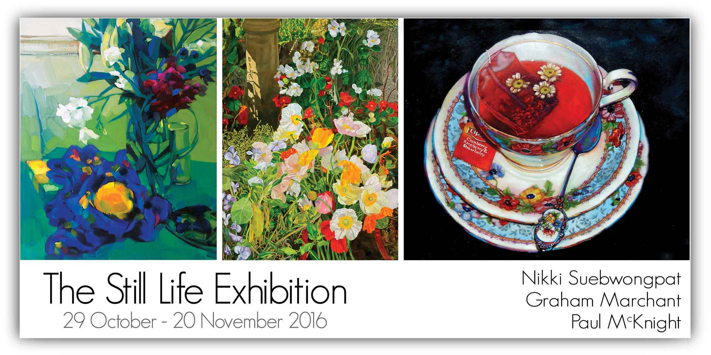 View Exhibition at Artsite Gallery, Sydney: 29 October - 20 November 2016. The Still Life Exhibition with Graham Marchant | Paul McKnight | Nikki Suebwongpat.