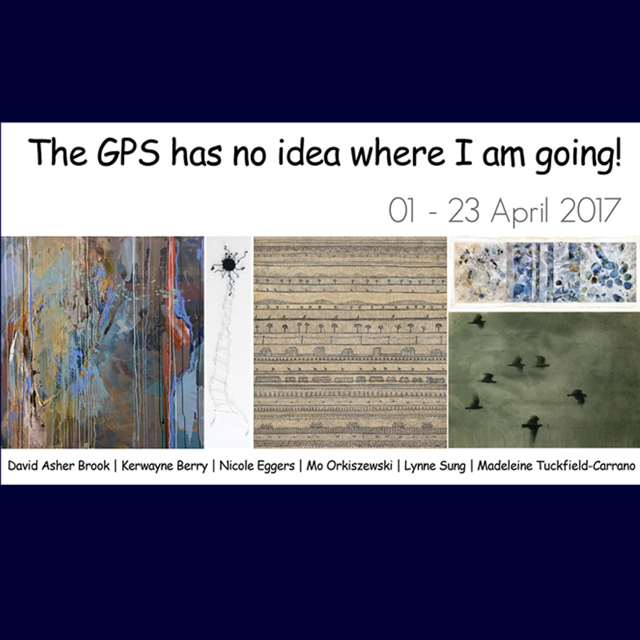 The GPS has no Idea where I am Going! Group Exhibition: David Asher Brook, Kerwayne Berry, Nicole Eggers, Mo Orkiszewski, Lynne Sung, Judy Trick, and Madeleine Tuckfield-Carrano. Gallery_1, Artsite Gallery 01 - 23 April 2017.
