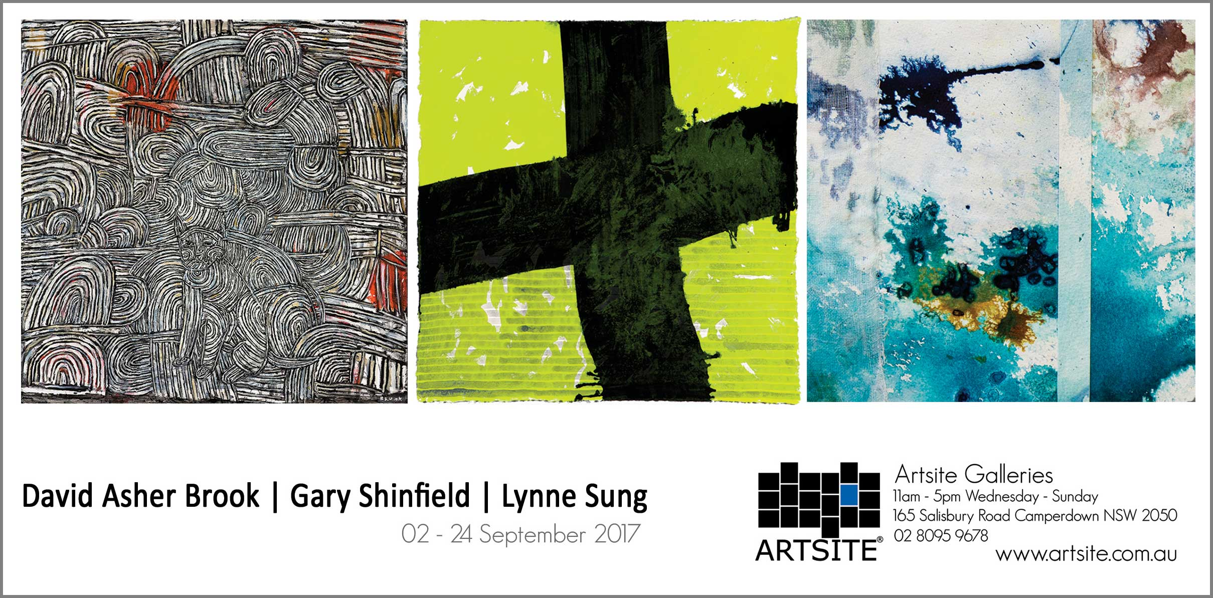 David Asher Brook | Gary Shinfield | Lynne Sung: Group Exhibition Gallery Two, Artsite Gallery 02 - 24 September 2017