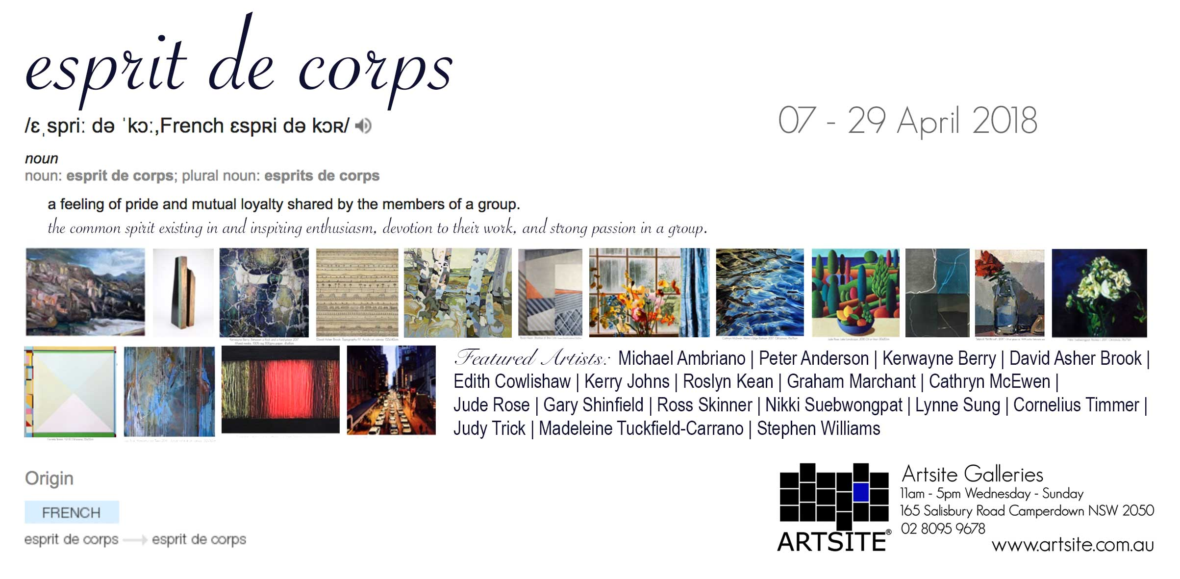 Esprit de Corps. Artsite Galleries 07-29 April 2018.