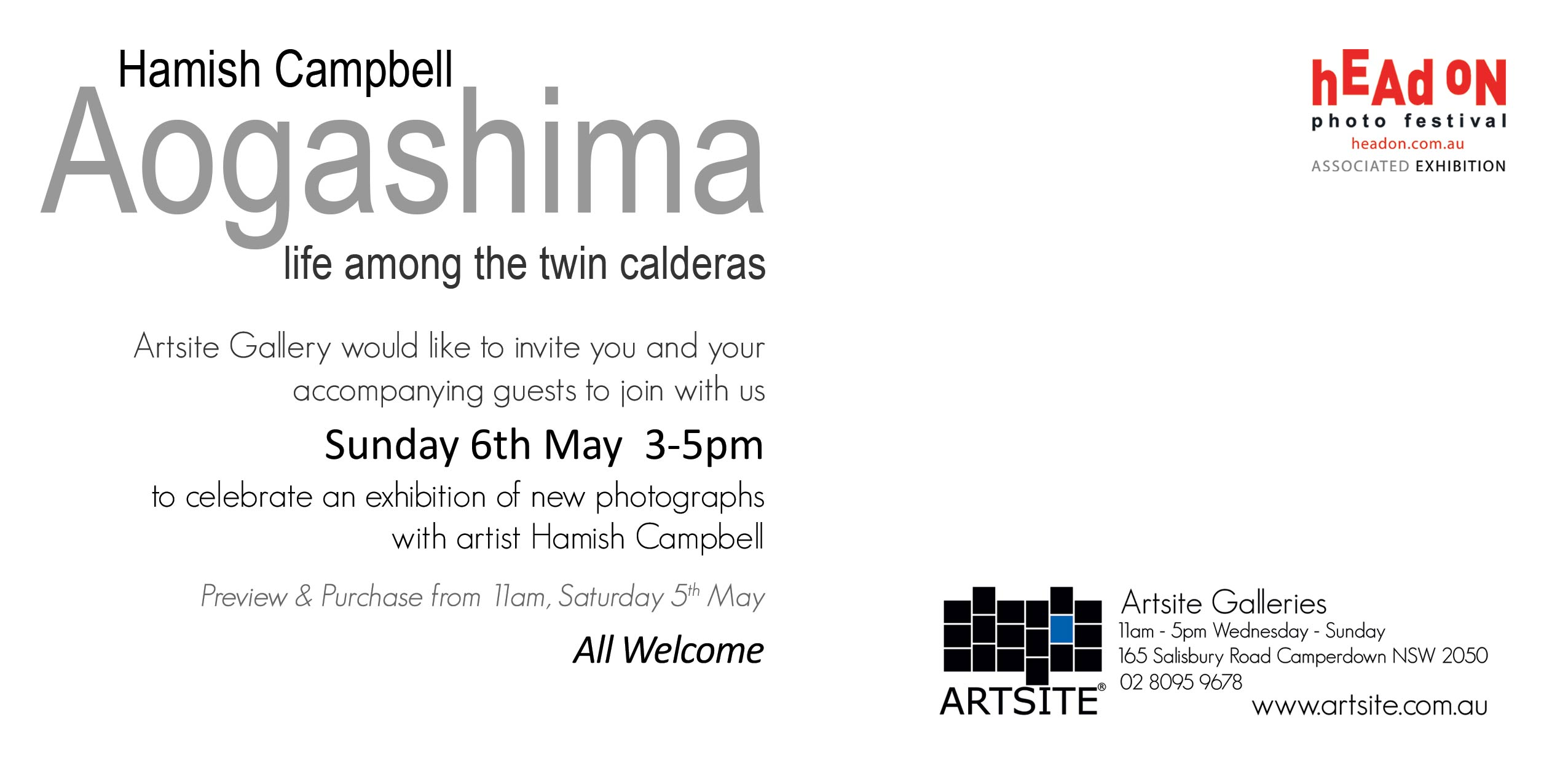 Artsite Gallery Exhibition. Hamish Campbell: Aogashima Life between the twin Calderas. Head On Photo Festival 2018, 05-27 May 2018