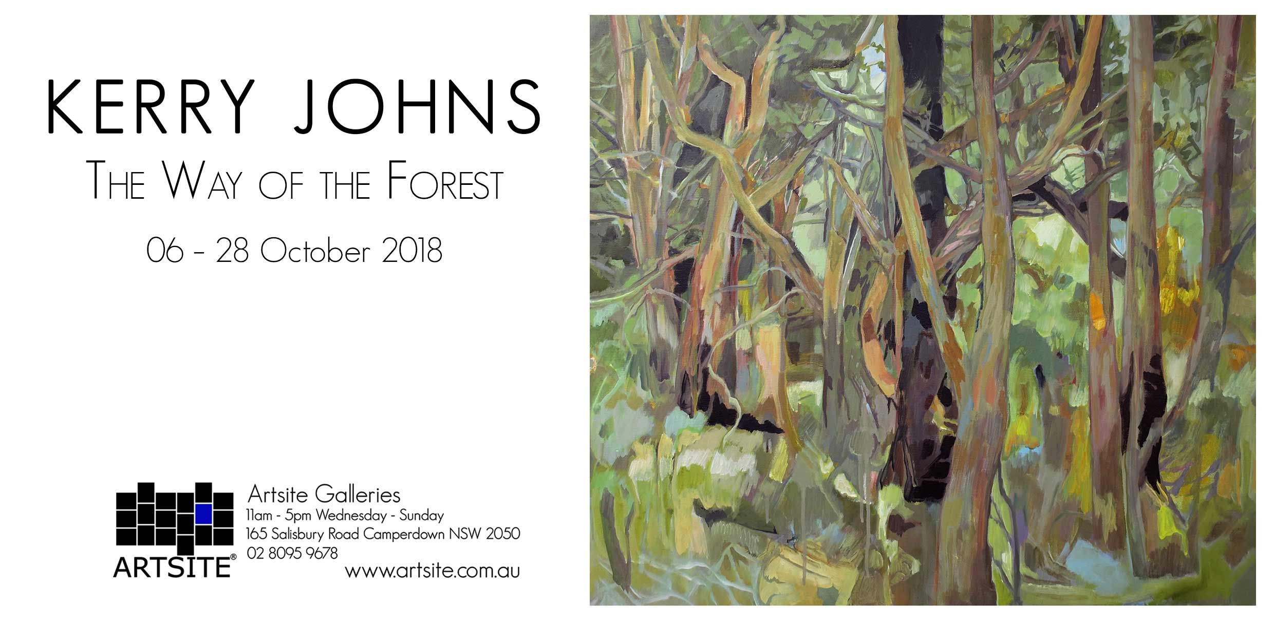 Artsite Galleries Exhibition | Kerry Johns | The Way of the Forest | 06 - 28 October 2018