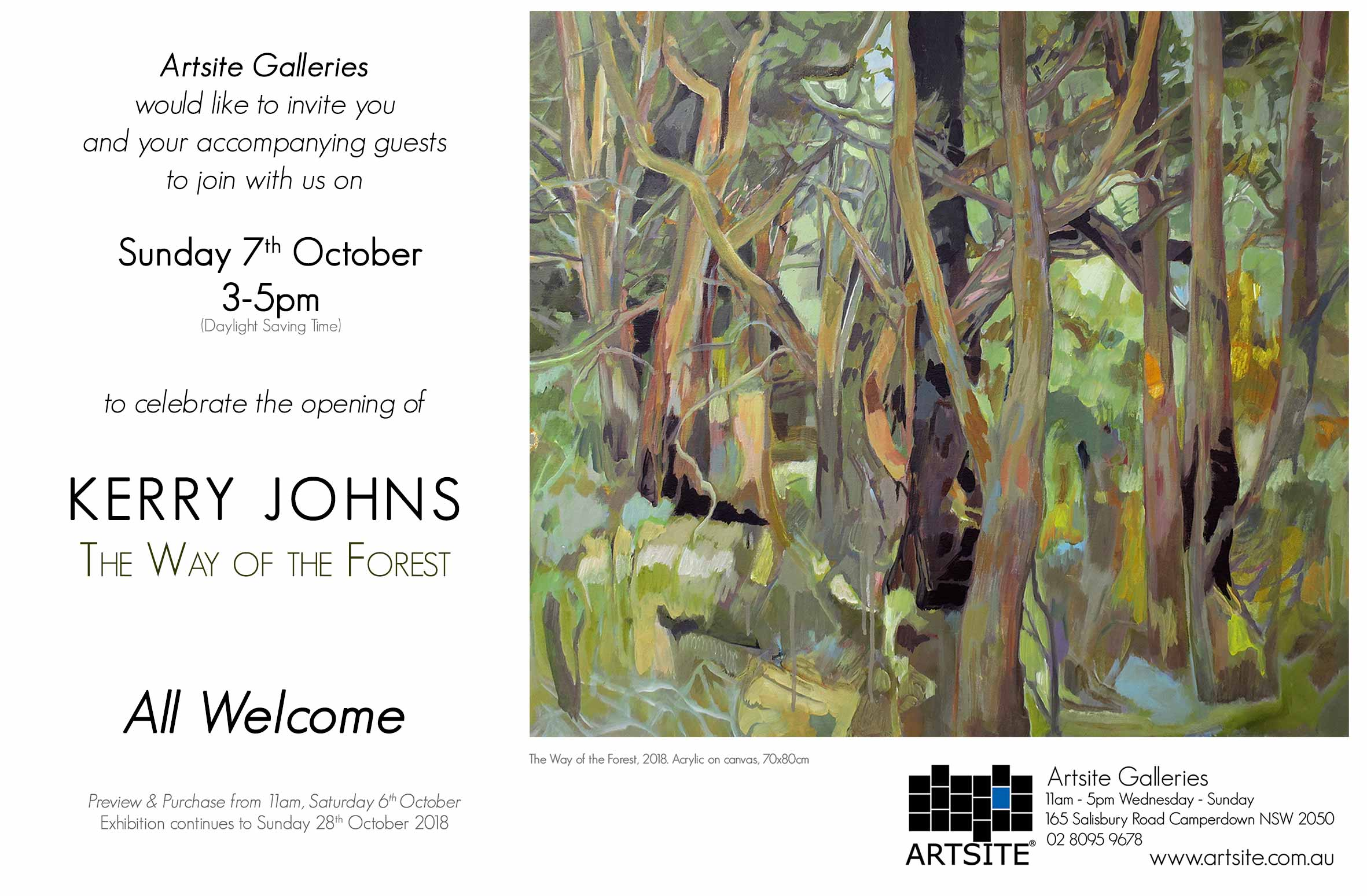 Artsite Galleries Exhibition | Kerry Johns | The Way of the Forrest | 06 - 28 October 2018.