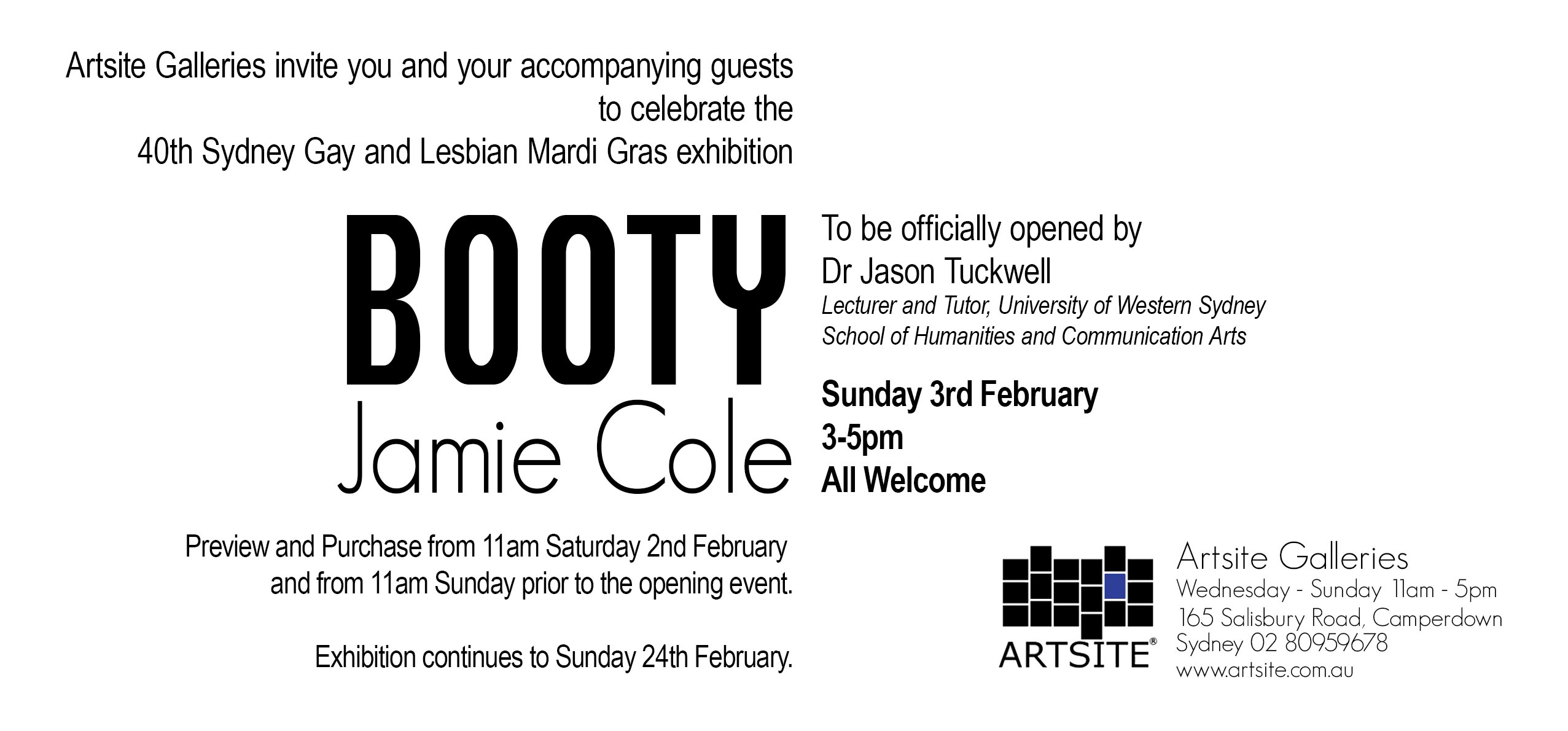Artsite Gallery Exhibition | Gallery_1 | Jamie Cole | Booty | An Official 2019 Sydney Gay and Lesbian Mardi Gras Event | 02 - 24 February 2019