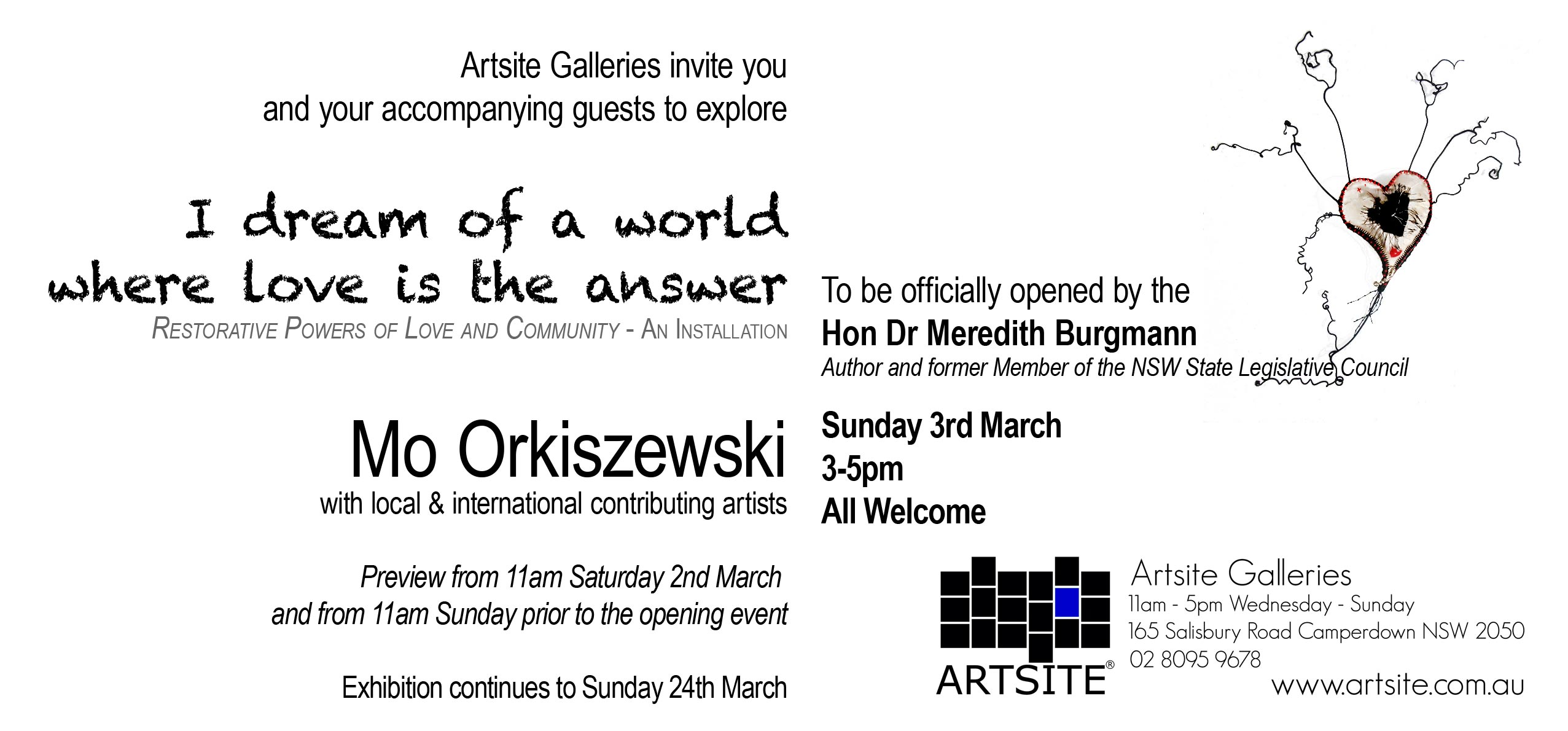 Artsite Gallery Exhibition | Gallery_2 | I dream of a world where love is the answer | Exploring the restorative powers of love and community | Mo Orkiszewski with local and international contributing artists | 02 - 24 March 2019