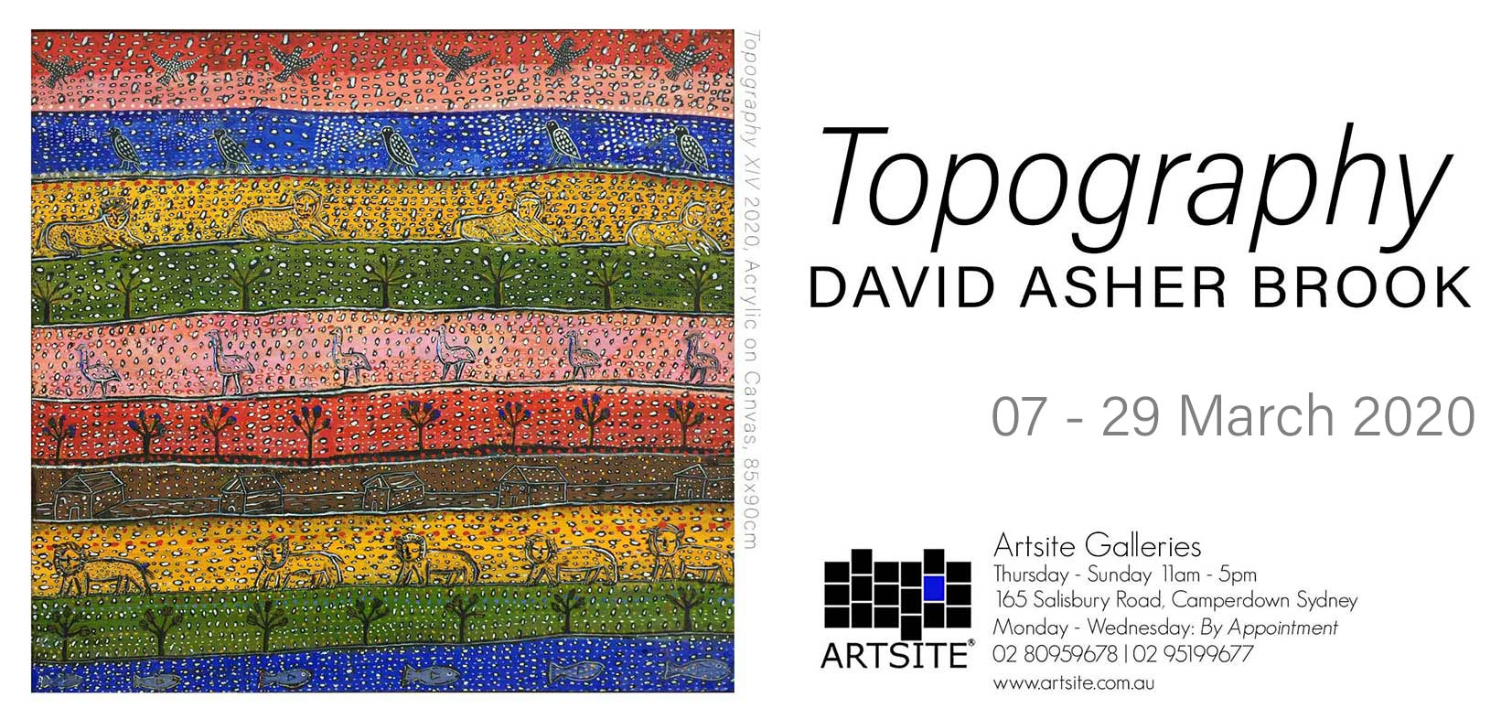 David Asher Brook Solo Exhibition at Artsite Gallery 07-28 March 2020