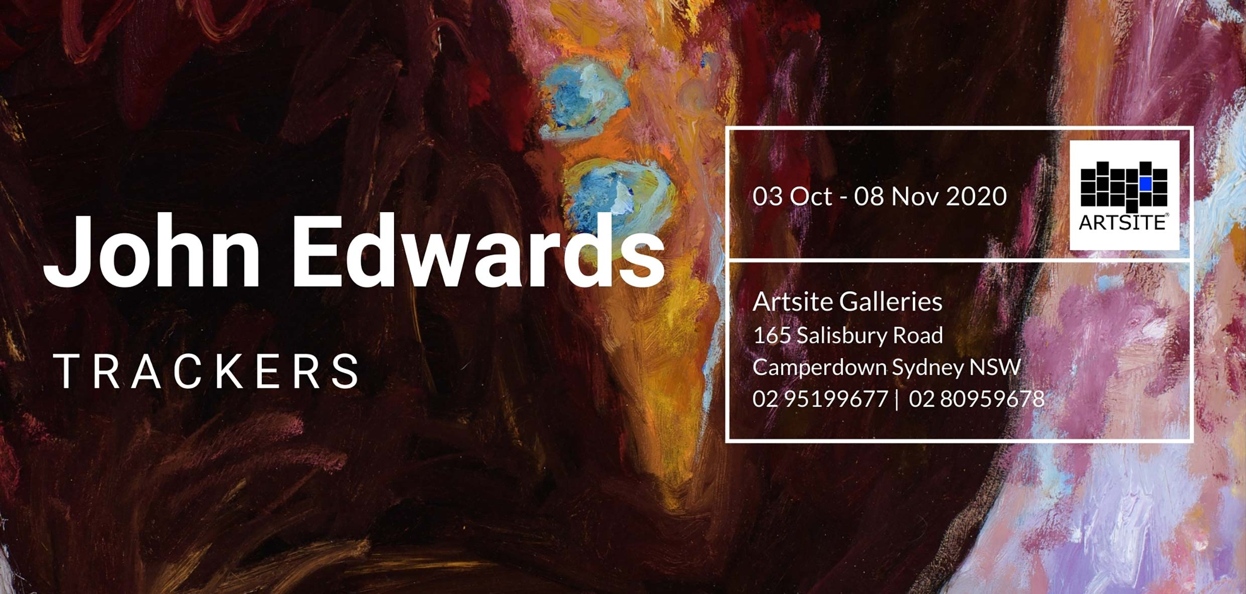 Artsite Galleries Exhibition | John Edwards: Trackers.  Open Saturday and Sundays 11am - 5pm and By Appointment: Monday - Friday | 03 October - 08 November 2020.