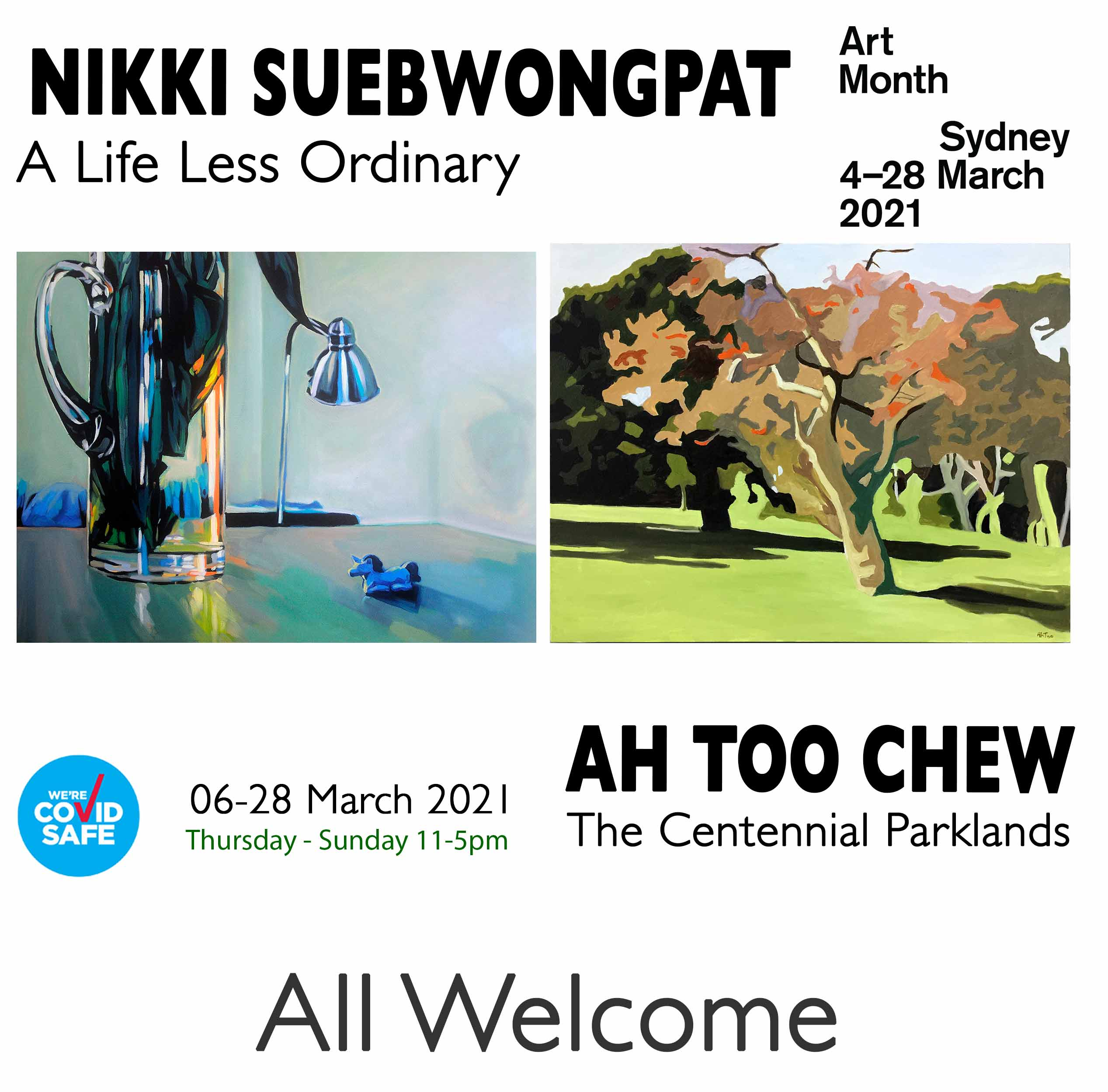 Artsite Galleries | Gallery.1 | A Life Less Ordinary | Nikki Subewongpat | Solo Exhibition | Gallery.2 | The Centennial Parklands | Ah Too Chew | Solo Exhibition | Thursday - Sunday 11-5pm | 06-28 March 2021.