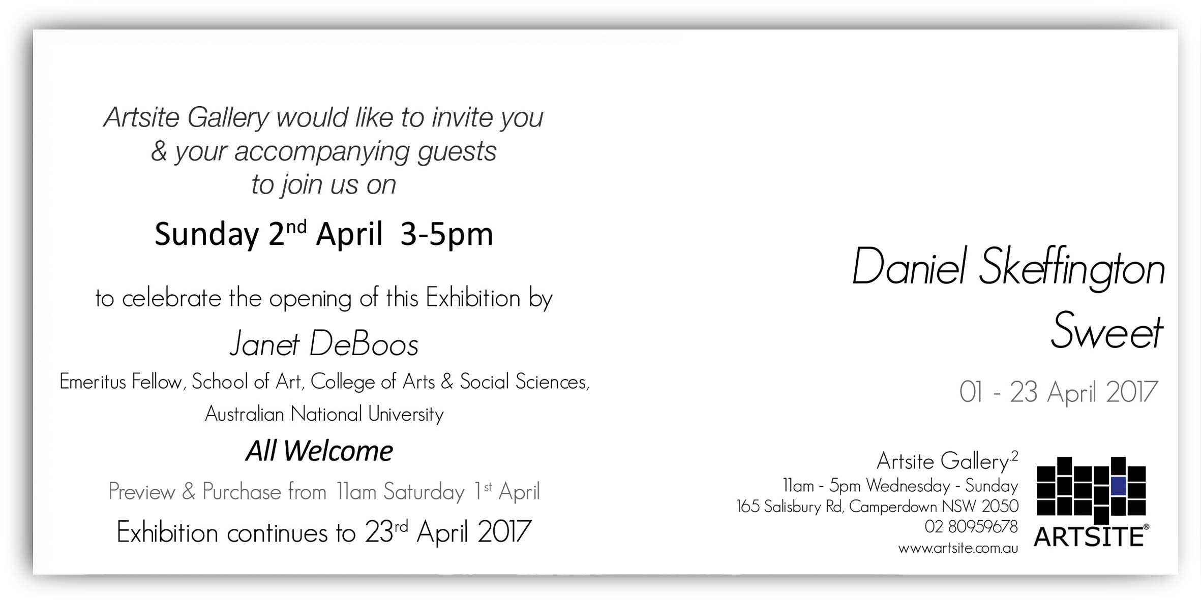 Daniel Skeffington: Sweet. Solo Exhibition Artsite Gallery_2, 01-23 April  2017. Opening event Sunday 5th April 3-5pm. All Welcome.