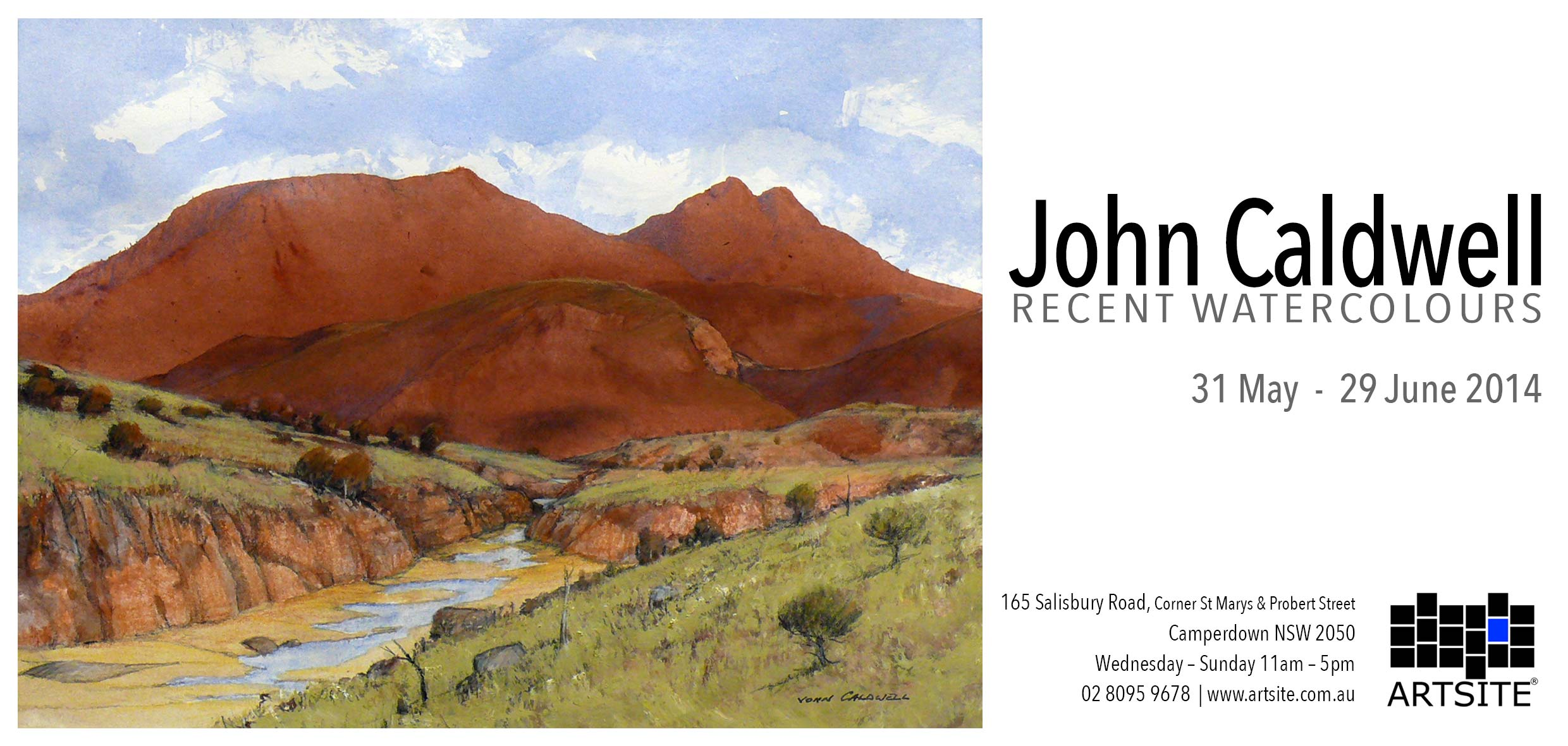 View Exhibition at Artsite Gallery. 31 May - 29 June 2014 John Caldwell - Recent Watercolours