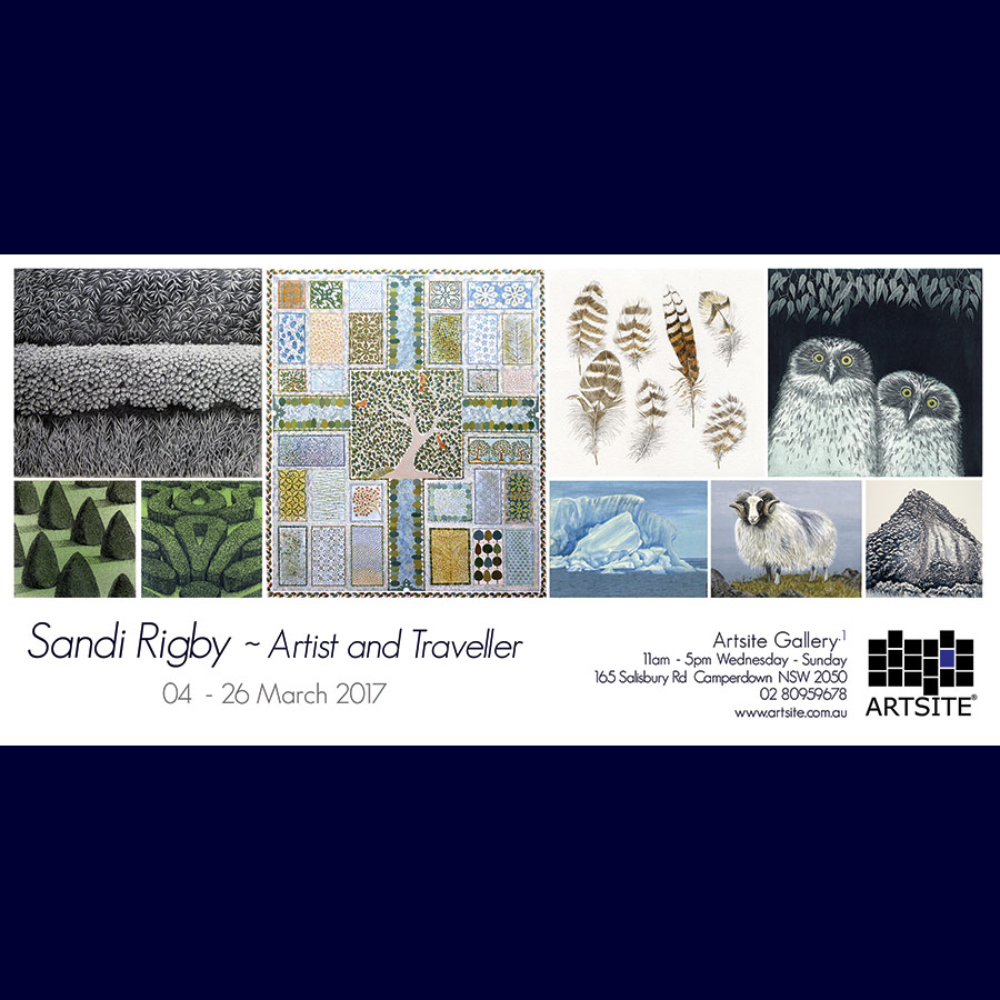Sandi Rigby: Artist and Traveller. Solo Exhibition Gallery_1, Artsite Gallery 04 - 26 March 2017.
