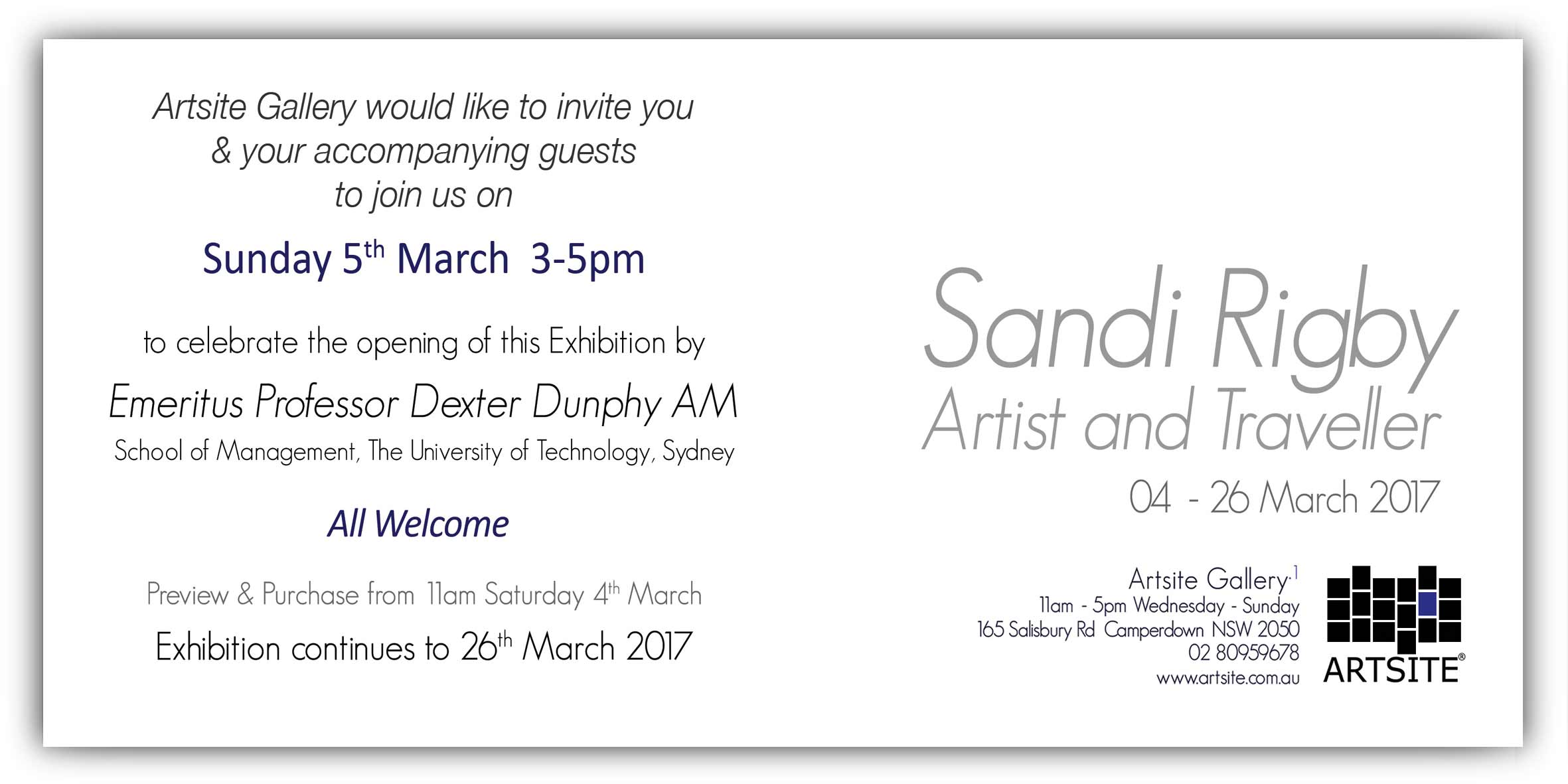 Sandi Rigby: Artist and Traveller. Solo Exhibition Gallery_1, Artsite Gallery 04 - 26 March 2017 opening event Sunday 5th March 3-5pm. All Welcome.