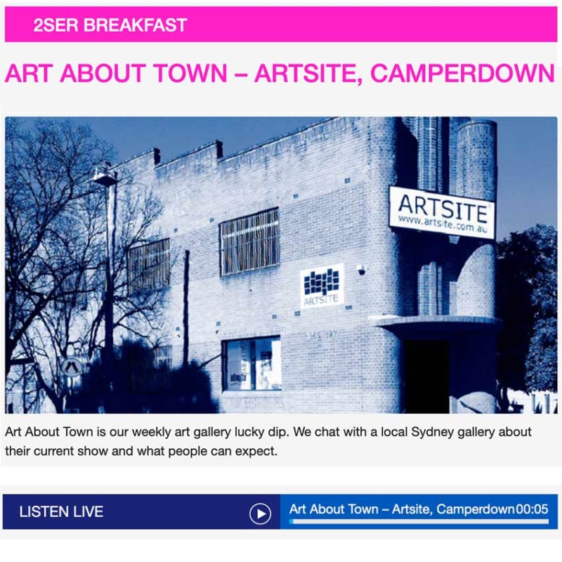 Artsite in Camperdown was the first gallery for Art About Town. Artsite Director and Currator Madeline Tuckfield-Carrano joined Willy Russo on Breakfast.