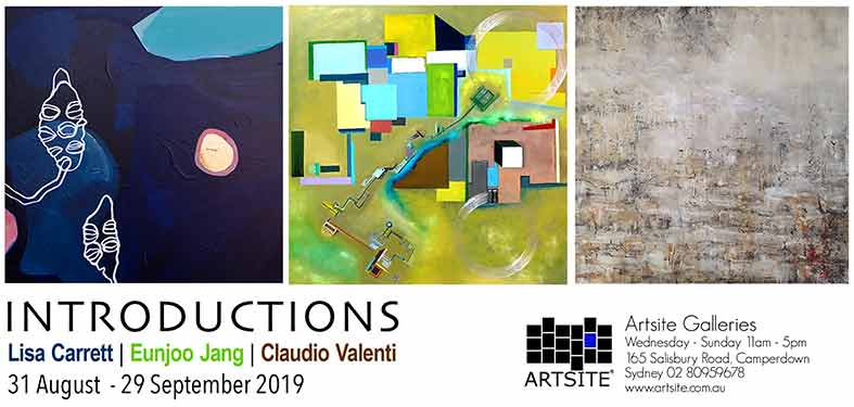 INTRODUCTIONS: Three Emerging Artists, 31 August -29 September 2019, Artsite Galleries exhibition archive.
